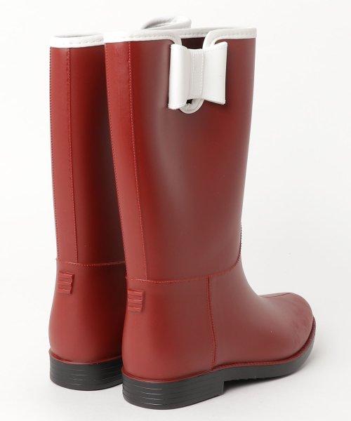 aimoha(aimoha(アイモハ))/バイカラーサイドリボン付きミドル丈レインブーツラバーブーツ レインシューズ ゴム長靴 雨靴 ガーデニングブーツ レディース レインブーツ /qx901a_img01