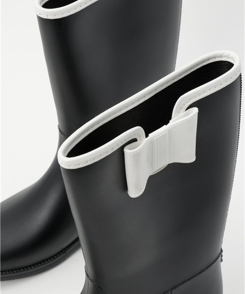 aimoha(aimoha(アイモハ))/バイカラーサイドリボン付きミドル丈レインブーツラバーブーツ レインシューズ ゴム長靴 雨靴 ガーデニングブーツ レディース レインブーツ /qx901a_img06