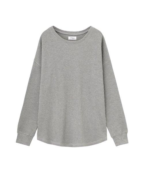 MAC HOUSE(women)(マックハウス(レディース))/Navy ネイビー ワッフル長袖Tシャツ NVCW9101/02221003579_img06