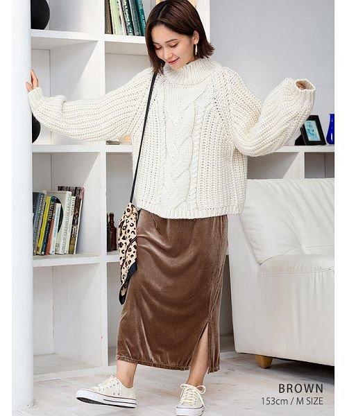 GROWINGRICH(グローウィングリッチ)/[ボトムス スカート]ベロアコーデュロイタイトスカート[190690]しっとりキレイな冬スカート/190690_img02