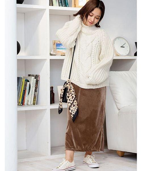 GROWINGRICH(グローウィングリッチ)/[ボトムス スカート]ベロアコーデュロイタイトスカート[190690]しっとりキレイな冬スカート/190690_img10