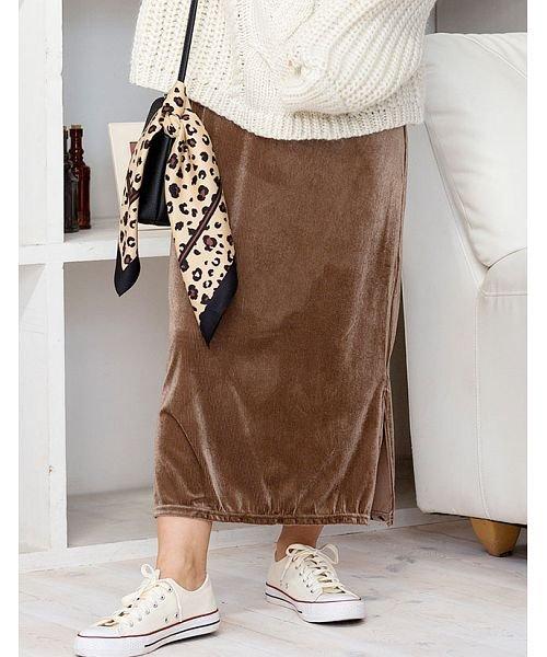GROWINGRICH(グローウィングリッチ)/[ボトムス スカート]ベロアコーデュロイタイトスカート[190690]しっとりキレイな冬スカート/190690_img14