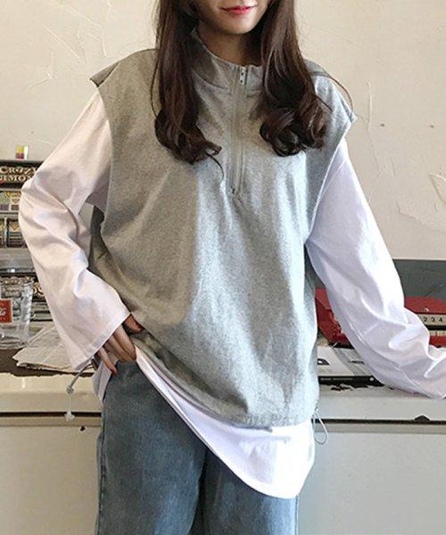 miniministore(ミニミニストア)/tシャツ ベスト 2点セット トップス レディース ゆったり 重ね着セット tシャツ 長袖/11DKZA-001_img05