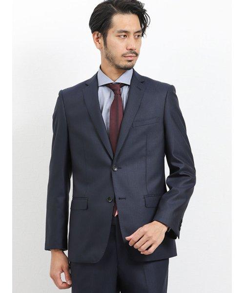 TAKA-Q(タカキュー)/光沢スリムフィット2ピーススーツ 片柄ストライプ紺/110010953403923_img02