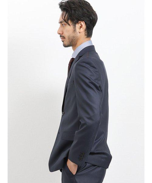 TAKA-Q(タカキュー)/光沢スリムフィット2ピーススーツ 片柄ストライプ紺/110010953403923_img03