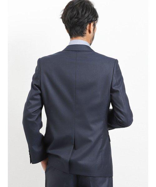 TAKA-Q(タカキュー)/光沢スリムフィット2ピーススーツ 片柄ストライプ紺/110010953403923_img04