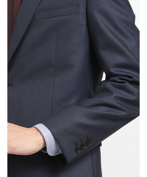 TAKA-Q(タカキュー)/光沢スリムフィット2ピーススーツ 片柄ストライプ紺/110010953403923_img06