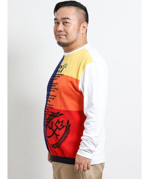 GRAND-BACK(グランバック)/【大きいサイズ】カステルバジャック/CASTELBAJAC スイスコットン ニット切替クルーネック長袖Tシャツ/110204863520923_img01