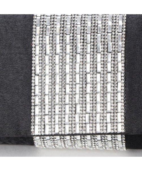 STYLEBLOCK(スタイルブロック)/スタイルブロック STYLEBLOCK センタークリスタルストーン装飾サテンパーティークラッチバッグ (ブラック)/ST4819AW28040_img04