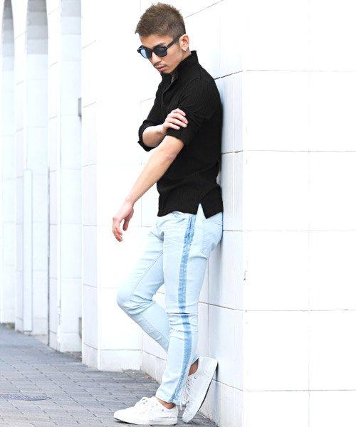 LUXSTYLE(ラグスタイル)/ランダムテレコリブ7分袖イタリアンカラーポロシャツ/pm-8123_img01