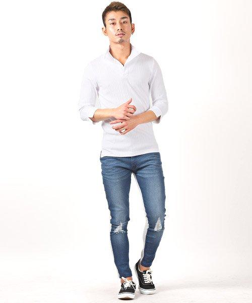 LUXSTYLE(ラグスタイル)/ランダムテレコリブ7分袖イタリアンカラーポロシャツ/pm-8123_img02