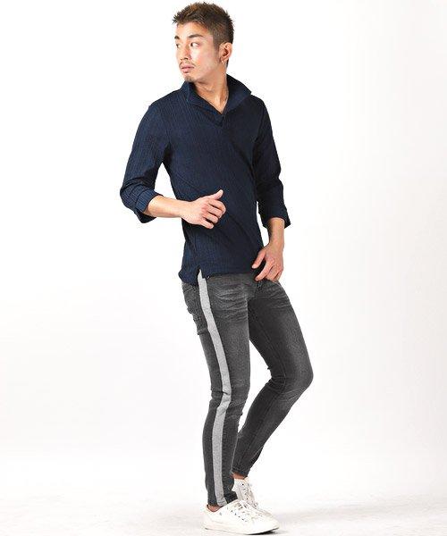 LUXSTYLE(ラグスタイル)/ランダムテレコリブ7分袖イタリアンカラーポロシャツ/pm-8123_img03