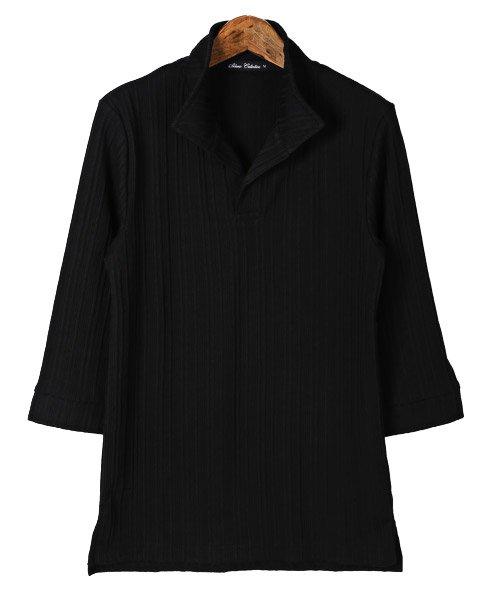 LUXSTYLE(ラグスタイル)/ランダムテレコリブ7分袖イタリアンカラーポロシャツ/pm-8123_img04
