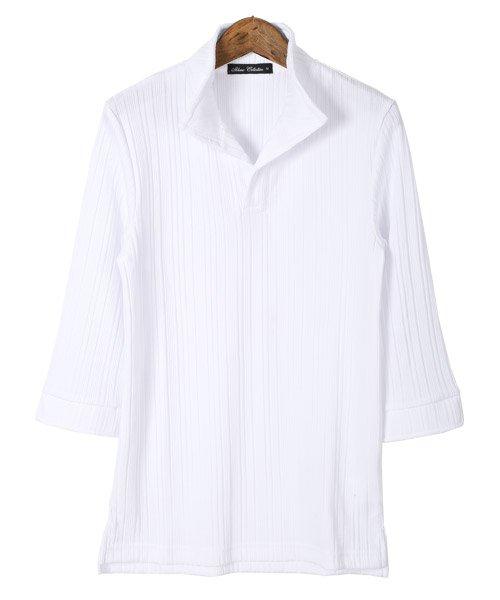 LUXSTYLE(ラグスタイル)/ランダムテレコリブ7分袖イタリアンカラーポロシャツ/pm-8123_img05
