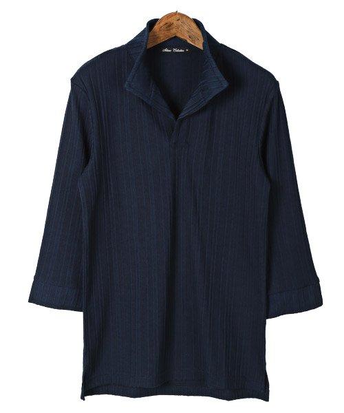 LUXSTYLE(ラグスタイル)/ランダムテレコリブ7分袖イタリアンカラーポロシャツ/pm-8123_img06
