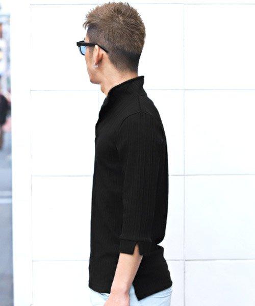 LUXSTYLE(ラグスタイル)/ランダムテレコリブ7分袖イタリアンカラーポロシャツ/pm-8123_img08