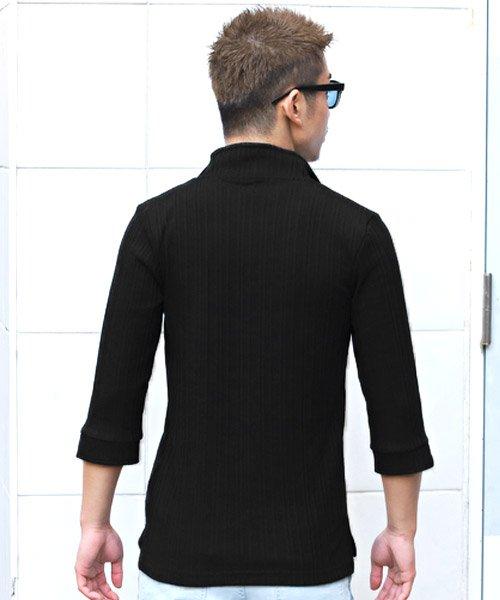 LUXSTYLE(ラグスタイル)/ランダムテレコリブ7分袖イタリアンカラーポロシャツ/pm-8123_img09