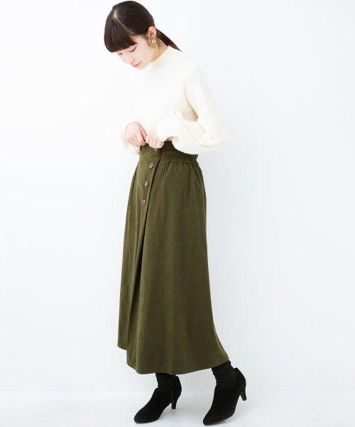 haco!(ハコ)/楽ちんなのにきれい見せが叶う ボタンがポイントの大人スカート/482274_img14