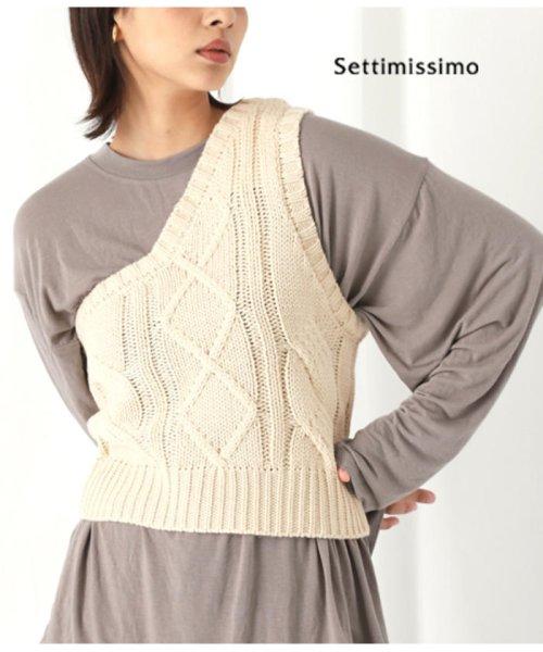 Settimissimo(セッティミッシモ)/ワンショルダーケーブルニットトップス/0334200047_img01
