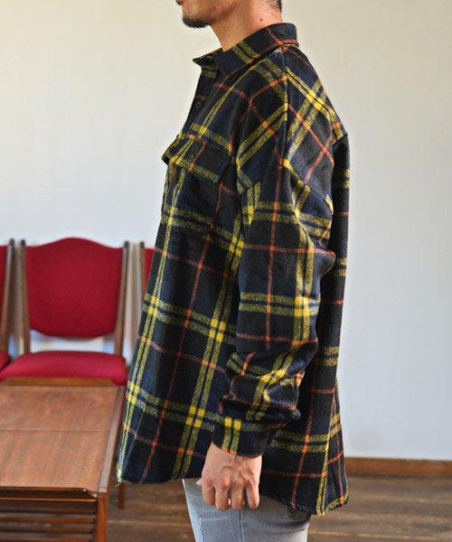 LUXSTYLE(ラグスタイル)/ビッグシルエットネルシャツ/シャツ メンズ 長袖 ネルシャツ ビッグシルエット/pm-8883_img02