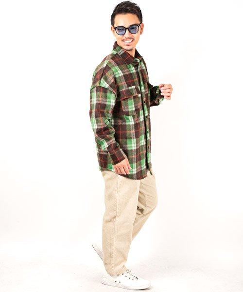 LUXSTYLE(ラグスタイル)/ビッグシルエットネルシャツ/シャツ メンズ 長袖 ネルシャツ ビッグシルエット/pm-8883_img04