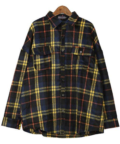 LUXSTYLE(ラグスタイル)/ビッグシルエットネルシャツ/シャツ メンズ 長袖 ネルシャツ ビッグシルエット/pm-8883_img05