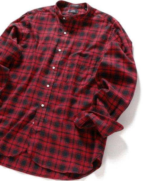 SHIPS MEN(シップス メン)/SHIPS×IKE BEHAR: アメリカ製 バッファローチェック バンドカラー ネルシャツ/111180095_img01