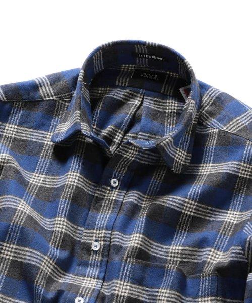 SHIPS MEN(シップス メン)/SHIPS×IKE BEHAR: アメリカ製 ブルーチェック ラウンドカラー ネルシャツ/111180096_img03