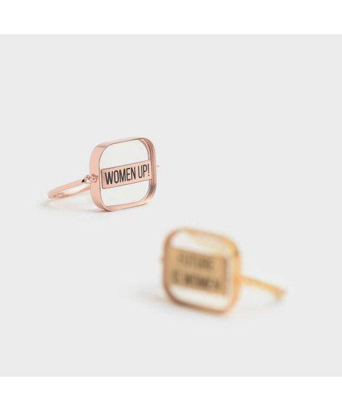 CHARLES & KEITH(チャールズ アンド キース)/【2019 WINTER 新作】WOMEN UP! アクリルリング / WOMEN UP! Acrylic Ring (Rose Gold)/CH1328DW13561_img02