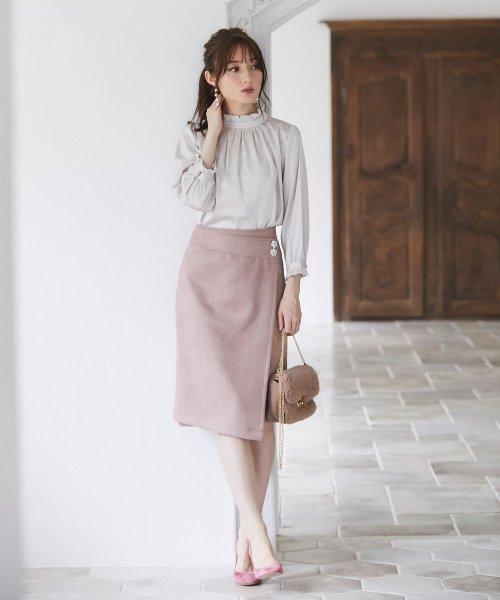 tocco closet(トッコクローゼット)/フラワービジュー付きラップタイトスカート/186132596_img01