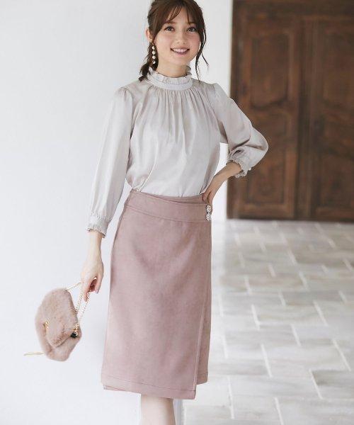 tocco closet(トッコクローゼット)/フラワービジュー付きラップタイトスカート/186132596_img02