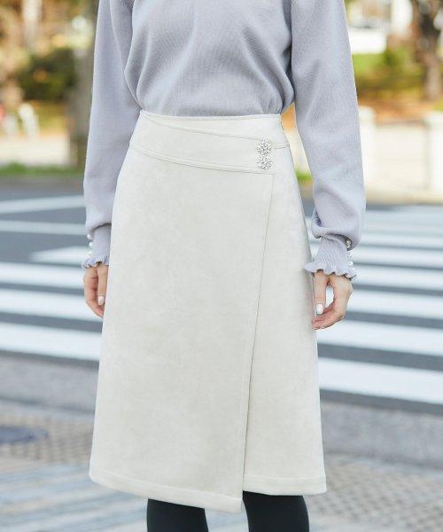 tocco closet(トッコクローゼット)/フラワービジュー付きラップタイトスカート/186132596_img07