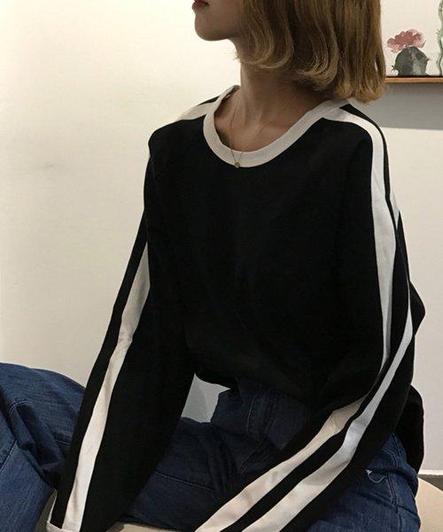 felt maglietta(フェルトマリエッタ)/袖が長めでゆるシルエットが可愛いBIGシルエット袖WラインラグランロングTシャツ/am255_img02