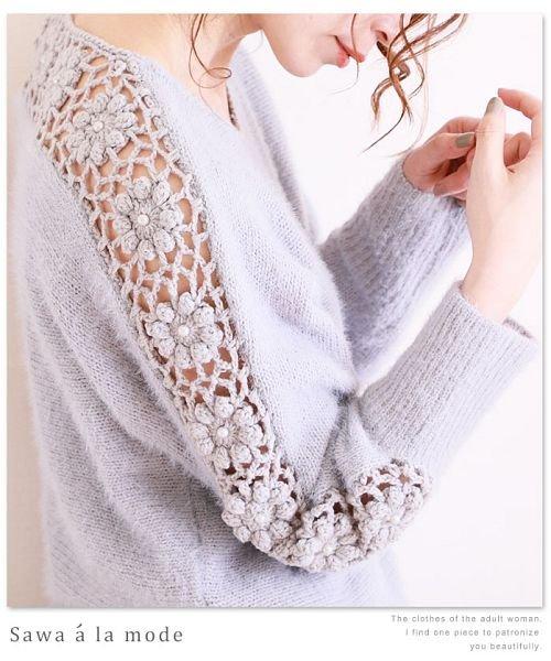 Sawa a la mode(サワアラモード)/袖クロシェ編み切り替えモヘアニットトップス/mode-4354_img05