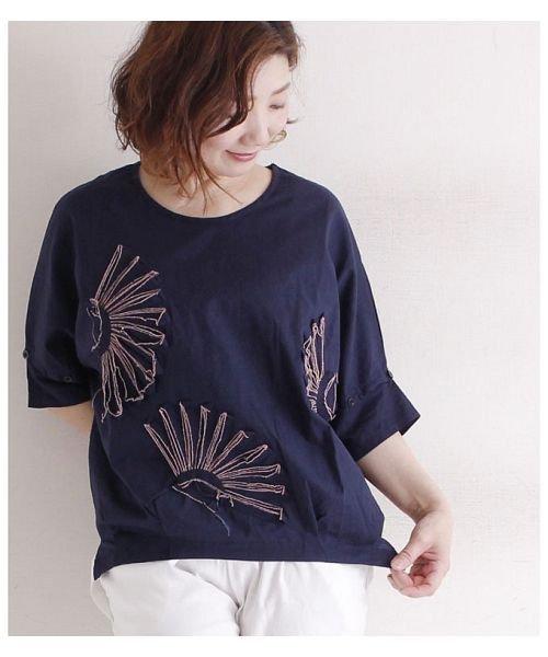 Sawa a la mode(サワアラモード)/立体的な花刺繍のドルマンスリーブトップス/mode-4927_img01