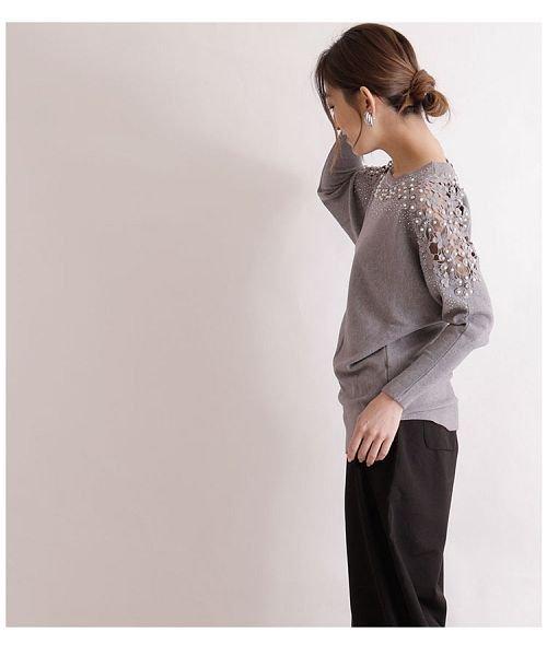 Sawa a la mode(サワアラモード)/ビジューが煌く花柄レースのドルマン袖ニット/mode-5928_img03
