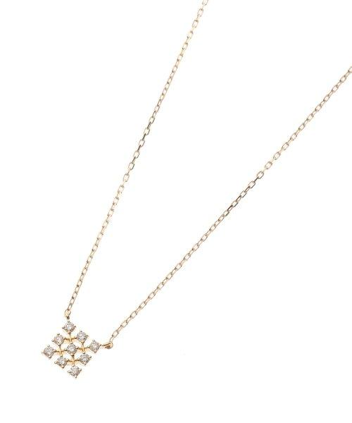 (K18)ダイヤモンド レーススクエアモチーフ ネックレス小