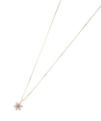 【COCOSHNIK(ココシュニック)】バースデイストーン(アメシスト2月)×ホワイトトパーズ ネックレス