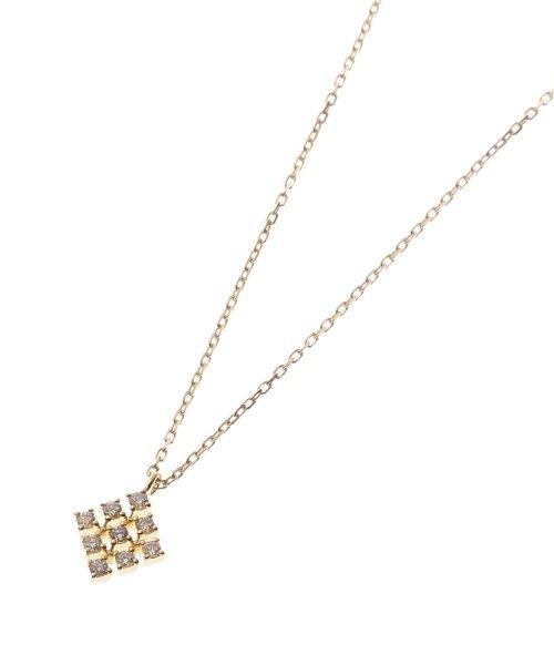 (K18)ダイヤモンド レース菱型モチーフ ネックレス小