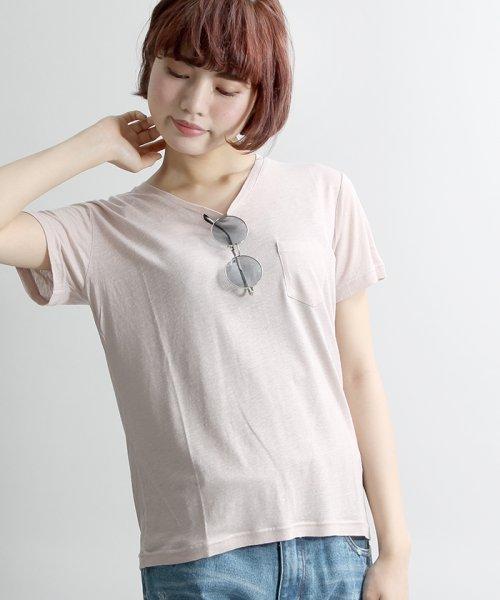 WEGO(ウィゴー)/WEGO/リネンモダールVネックTシャツ/BS16SM04L006