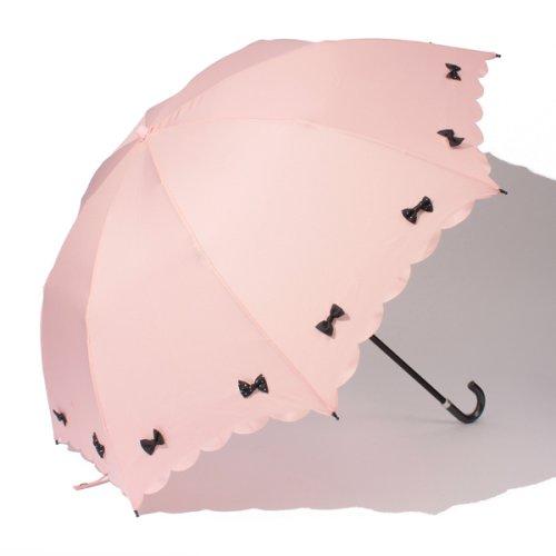 pink trick(ピンクトリック)/雨晴兼用 折傘 (UVカット&軽量) カラフルリボン/34145