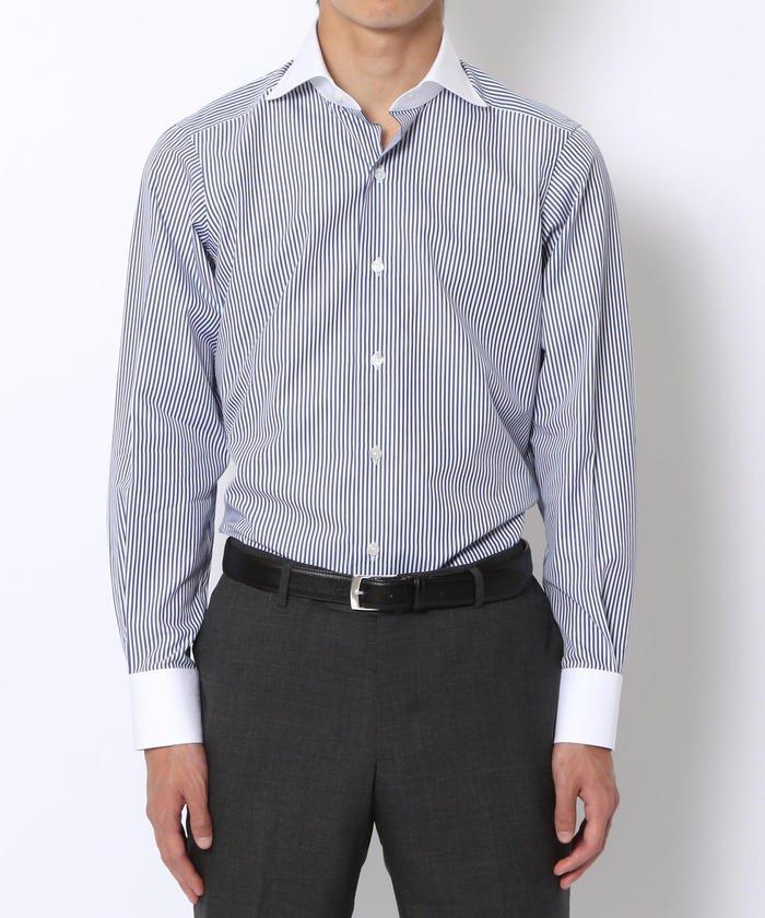 140/2コットンブロード ワイドカラー ドレスシャツ