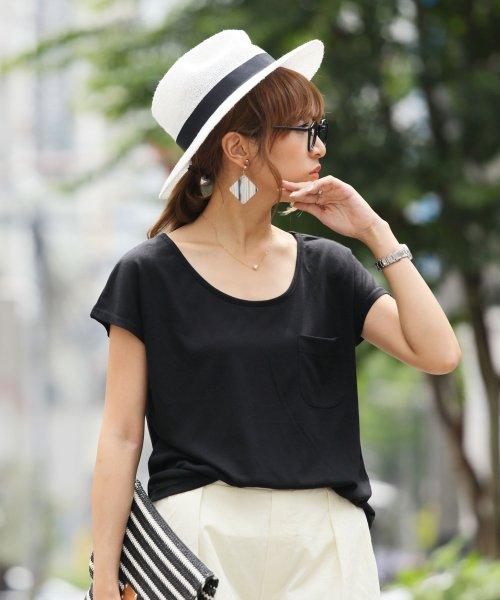 and Me...(アンドミー)/ゆるてろ素材×ミニポケット!!美ラインシンプルTシャツ/カットソー/トップス/1000270