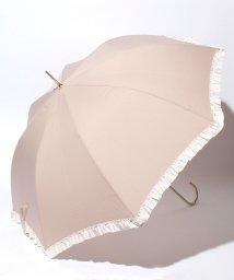 pink trick/雨晴兼用 長傘 (UVカット&軽量) ジャンプ傘 ボーダーフリル /002015915
