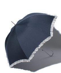 pink trick/雨晴兼用 長傘 (UVカット&軽量) ジャンプ傘 ボーダーフリル /002015916