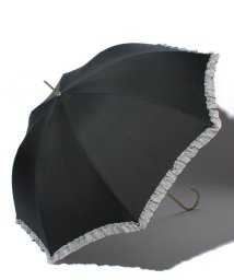 pink trick/雨晴兼用 長傘 (UVカット&軽量) ジャンプ傘 ボーダーフリル /002015917