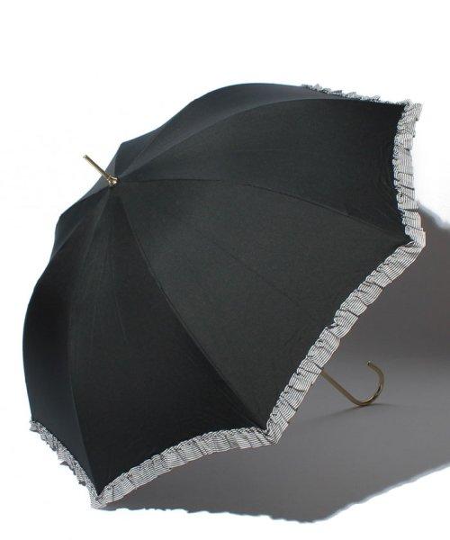 pink trick(ピンクトリック)/雨晴兼用 長傘 (UVカット&軽量) ジャンプ傘 ボーダーフリル /84953