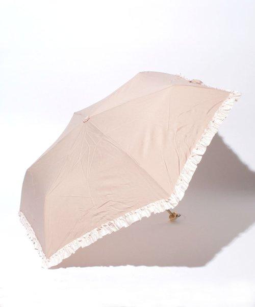 pink trick(ピンクトリック)/雨晴兼用 3段折傘 (UVカット&軽量) ボーダーフリル/84960