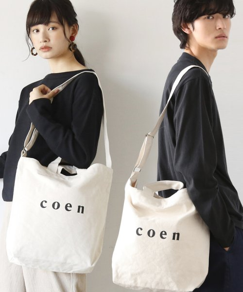 coen(コーエン)/【2017FW新色登場】coen2WAYロゴトートバッグ/76816027007