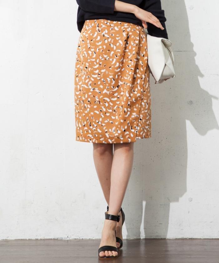 【洗える!】フェザーブラッシュプリント スカート